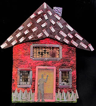 Bonnie Meltzer mixed media sculpture of a house